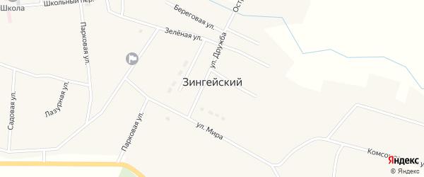 Комсомольская улица на карте Зингейского поселка с номерами домов