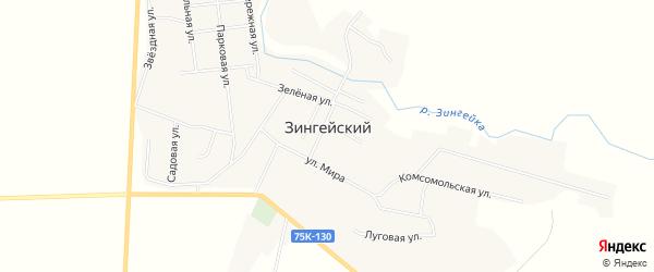 Карта Зингейского поселка в Челябинской области с улицами и номерами домов