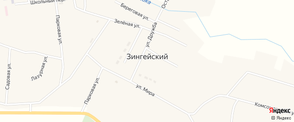 Правобережная улица на карте Зингейского поселка с номерами домов