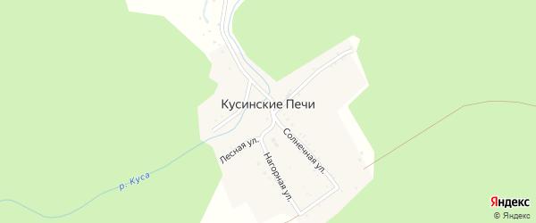 Солнечная улица на карте поселка Кусинские Печи с номерами домов