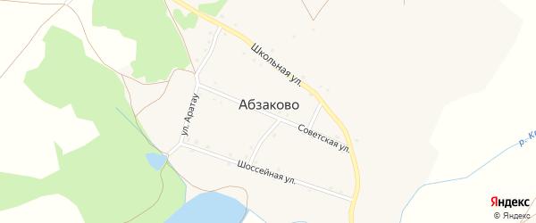 Шоссейная улица на карте деревни Абзаково с номерами домов