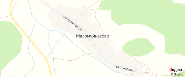 Школьная улица на карте деревни Маломуйнаково с номерами домов