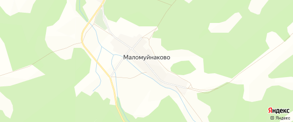 Карта деревни Маломуйнаково в Башкортостане с улицами и номерами домов