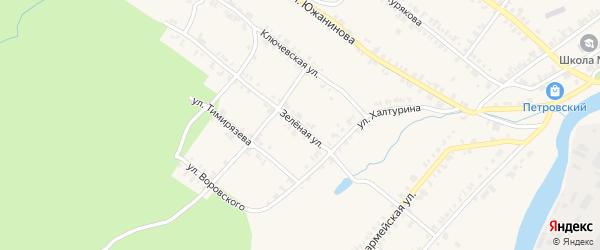 Зеленая улица на карте Нязепетровска с номерами домов