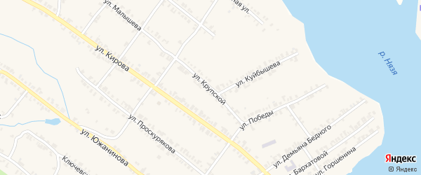 Улица Крупской на карте Нязепетровска с номерами домов