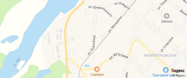 Улица Новоселов на карте Нязепетровска с номерами домов