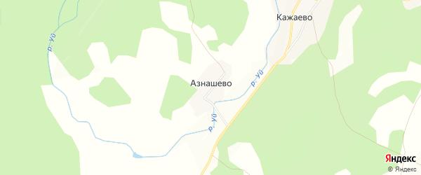 Карта деревни Азнашево в Башкортостане с улицами и номерами домов