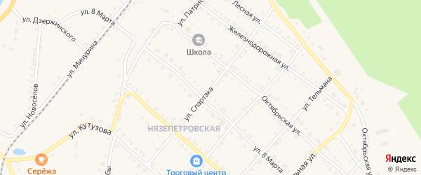 Улица Спартака на карте Нязепетровска с номерами домов