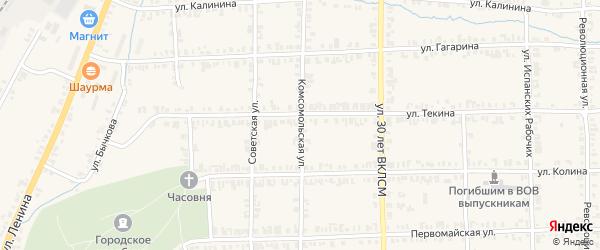 Комсомольская улица на карте Нязепетровска с номерами домов