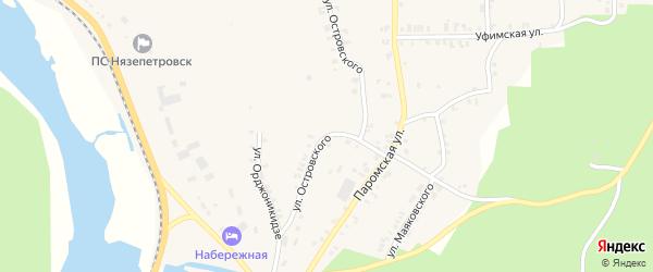 Улица Островского на карте Нязепетровска с номерами домов