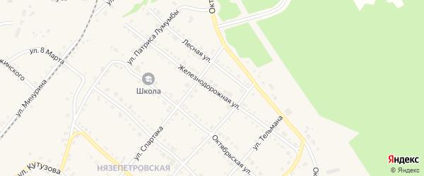 Железнодорожная улица на карте Нязепетровска с номерами домов