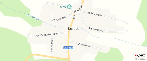 Зеленая улица на карте поселка Котово с номерами домов