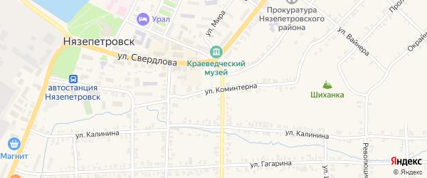 Улица Коминтерна на карте Нязепетровска с номерами домов