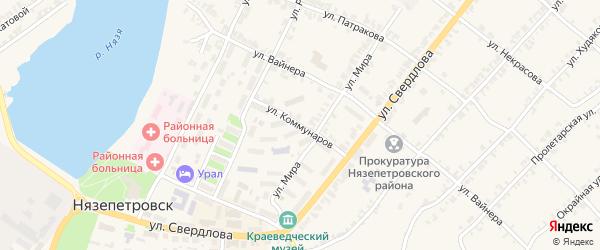 Улица Коммунаров на карте Нязепетровска с номерами домов