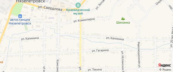 Улица Калинина на карте Нязепетровска с номерами домов