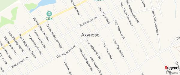 Первомайский переулок на карте села Ахуново с номерами домов