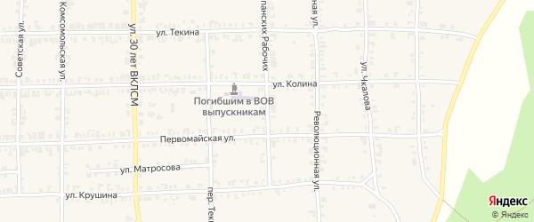Улица Испанских рабочих на карте Нязепетровска с номерами домов
