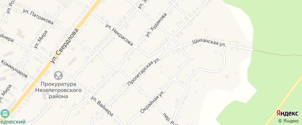 Пролетарская улица на карте Нязепетровска с номерами домов