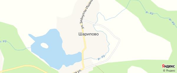 Прудная улица на карте деревни Шарипово с номерами домов