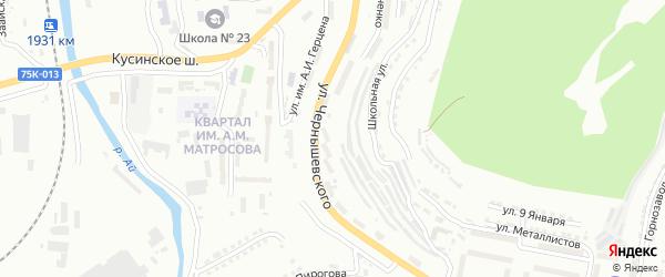 Улица им Н.Г.Чернышевского на карте Златоуста с номерами домов