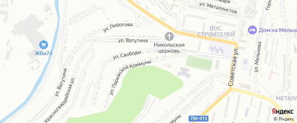 Улица Парижской Коммуны на карте Златоуста с номерами домов