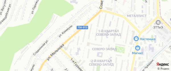 Северо-Запад 1-й квартал на карте Златоуста с номерами домов
