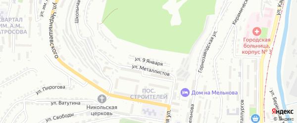 Улица 9 Января на карте Златоуста с номерами домов