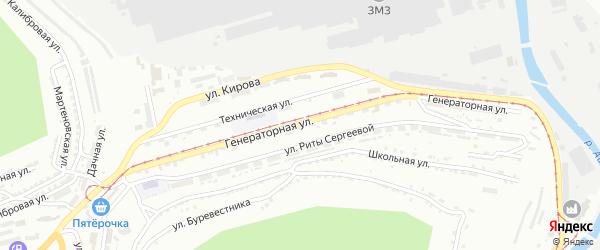 Генераторная улица на карте Златоуста с номерами домов