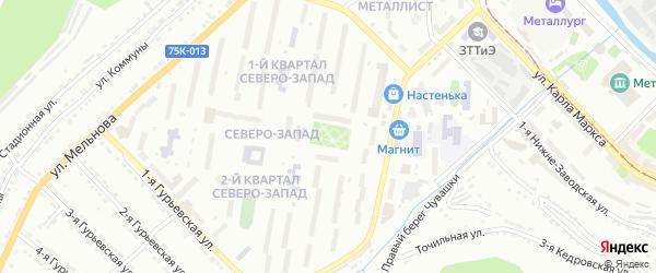 Территория ГК Северо-Западный на карте Златоуста с номерами домов