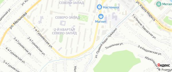 Северо-Запад 2-й квартал на карте Златоуста с номерами домов