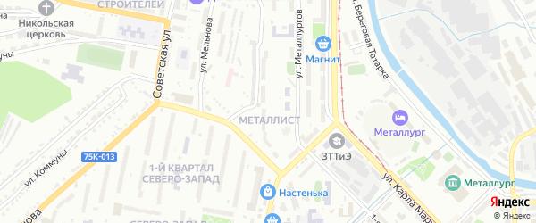Квартал Металлист на карте Златоуста с номерами домов