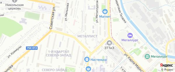 Территория ГК Металлист на карте Златоуста с номерами домов