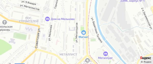 Улица Металлургов на карте Златоуста с номерами домов