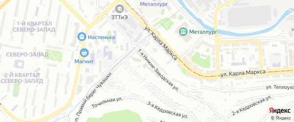 Нижне-Заводская 1-я улица на карте Златоуста с номерами домов