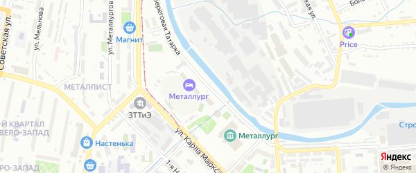 Береговая улица на карте поселка Плотинки с номерами домов