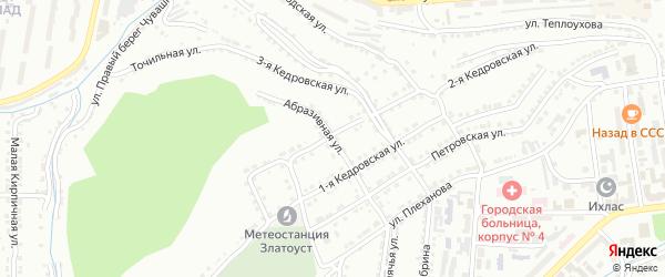 Абразивная улица на карте Златоуста с номерами домов