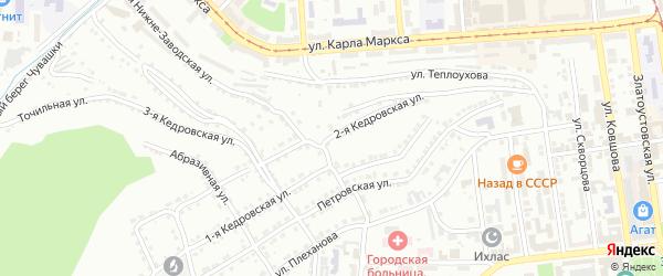 Кедровская 2-я улица на карте Златоуста с номерами домов