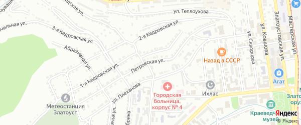 Петровская улица на карте Златоуста с номерами домов