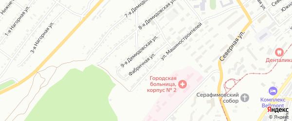 Фабричная улица на карте Златоуста с номерами домов