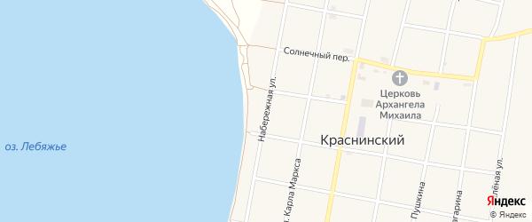 Набережная улица на карте Краснинского поселка с номерами домов