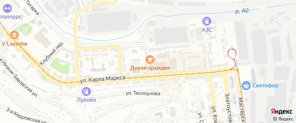 Трамвайный проезд на карте Златоуста с номерами домов