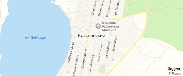 Карта Краснинского поселка в Челябинской области с улицами и номерами домов