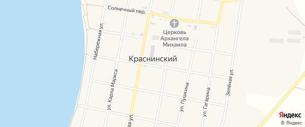 Молодежная улица на карте Краснинского поселка с номерами домов