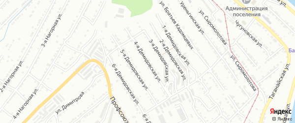 Демидовская 4-я улица на карте Златоуста с номерами домов