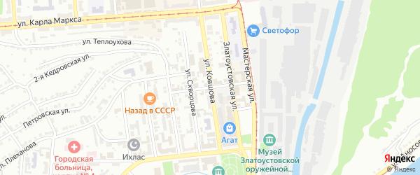 Красноармейский переулок на карте Златоуста с номерами домов