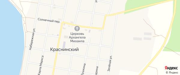 Улица Пушкина на карте Краснинского поселка с номерами домов