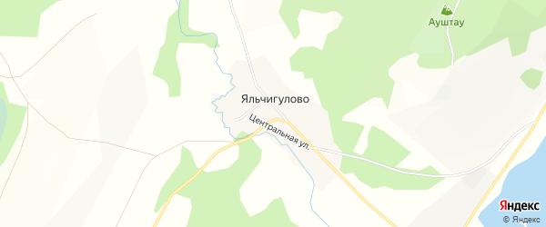 Карта деревни Яльчигулово в Башкортостане с улицами и номерами домов