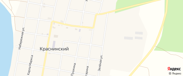 Улица Гагарина на карте Краснинского поселка с номерами домов