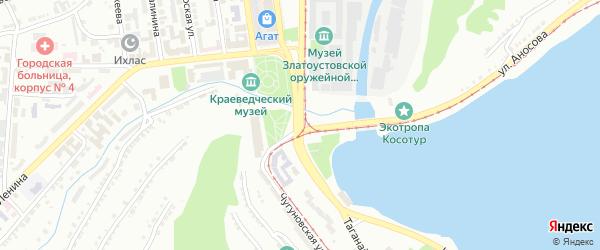 Территория ГК Железнодорожник на карте Златоуста с номерами домов