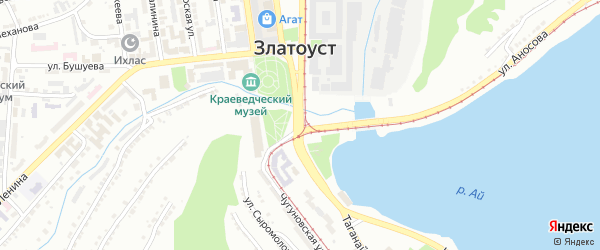 Территория ГК Олимпийский на карте Златоуста с номерами домов